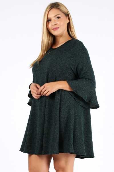 SQ-Z {In Any Event} Black Stretchy Knit Dress Bell Sleeves PLUS SIZE 1X 2X 3X