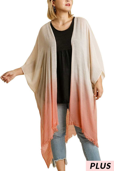 "64 OT-R {Find Your Faith} ""UMGEE"" Coral Ombre Kimono PLUS SIZE XL/1XL or 1XL/2XL"