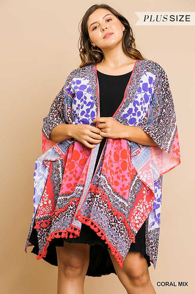 "65 OT-B {Lost In The Daze} ""UMGEE"" Multi-Print Kimono PLUS SIZE XL/1XL or 1XL/2XL"