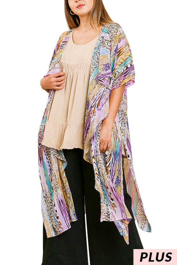 "64 OT-K {Speak Life} ""UMGEE"" Multi-Print Kimono/Duster PLUS SIZE XL/1XL or 1XL/2XL"