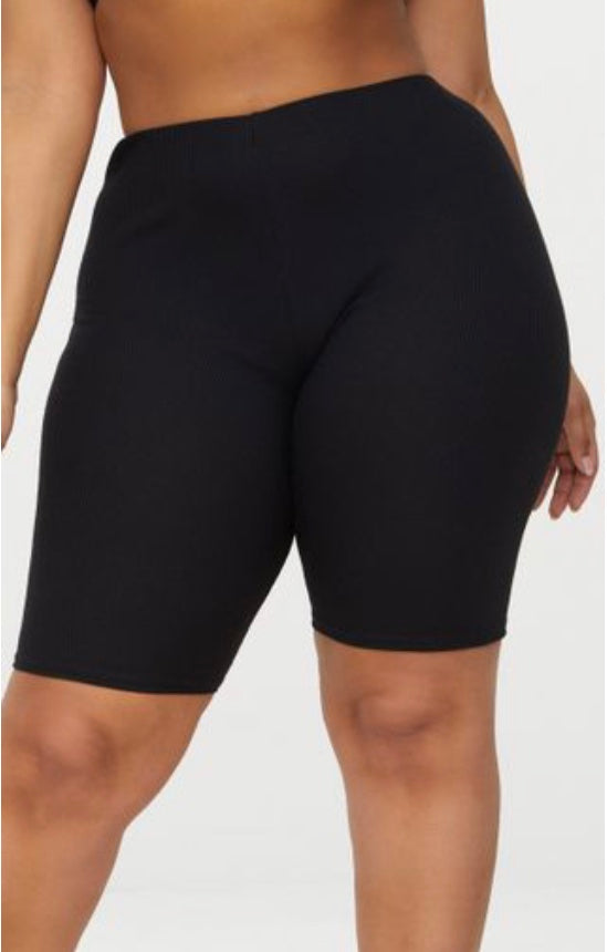 BT-K {Do It Well} BLACK Cotton Mid-Thigh Bicycle Shorts  PLUS SIZE 1X 2X 3X