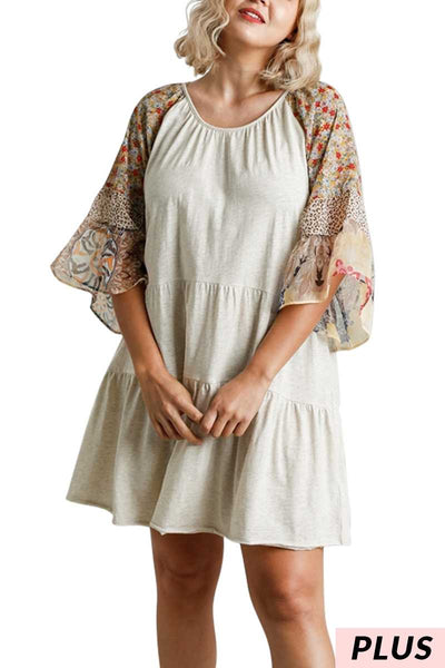 "65 CP-O {Tea For Two} ""UMGEE"" Tiered Dress with Floral Sleeves PLUS SIZE XL 1XL 2XL"