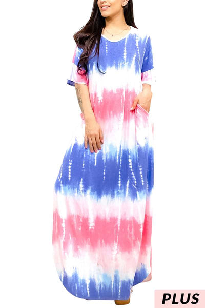63 LD-S {Lakeside Lounging} Pink/Blue Tie-Dye Maxi Dress PLUS SIZE 1X 2X 3X