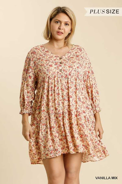 "64 PLS {Smell The Flowers} ""UMGEE""  Floral  Print Tunic Dress  PLUS SIZE XL 1XL 2XL"