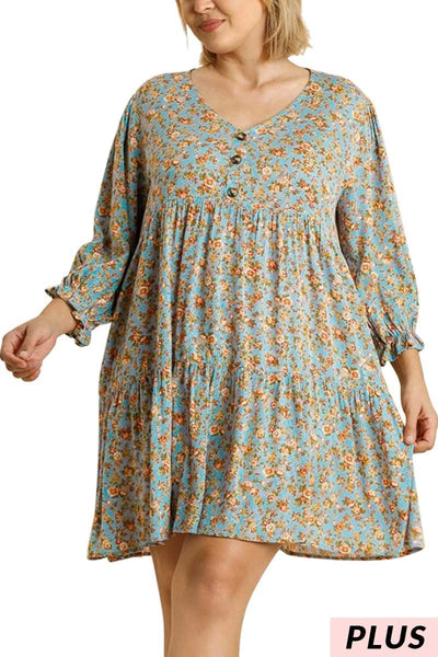 "64 PLS {Smell The  Flowers} ""UMGEE""  Floral Tunic Dress PLUS SIZE XL 1XL 2XL"