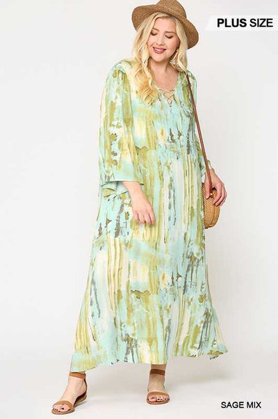 65 LD-U {Timeless Moves} Green Printed Maxi with Lining PLUS SIZE 1X 2X 3X