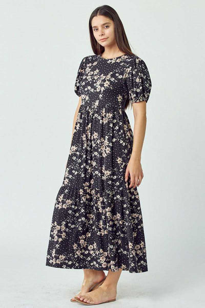 65 LD-C {Lost In Forever} Black Floral 3-Tiered Maxi Dress PLUS SIZE 1X 2X 3X