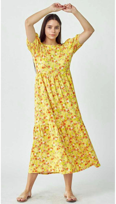 65 LD-F {Lost In Forever} Yellow Floral 3-Teired Maxi Dress