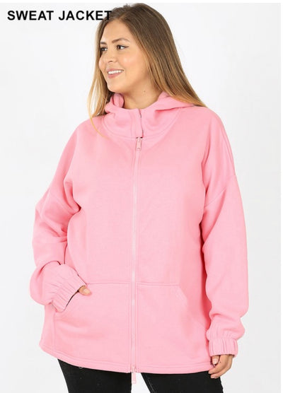 OT-P {Comfy Chic} Pink Hoodie Jacket with Full Zipper