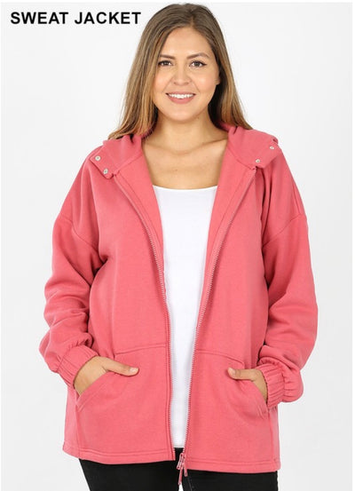 OT-Q {Comfy Chic} ROSE Hoodie Jacket with Full Zipper