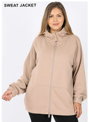 OT-U {Comfy Chic} Ash Mocha Hoodie Jacket Full Zipper  SALE!! PLUS SIZE 1X 2X 3X