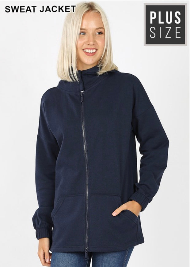 OT-N {Comfy Chic}  SALE!! NAVY Hoodie Jacket with Full Zipper   PLUS SIZE 1X 2X 3X