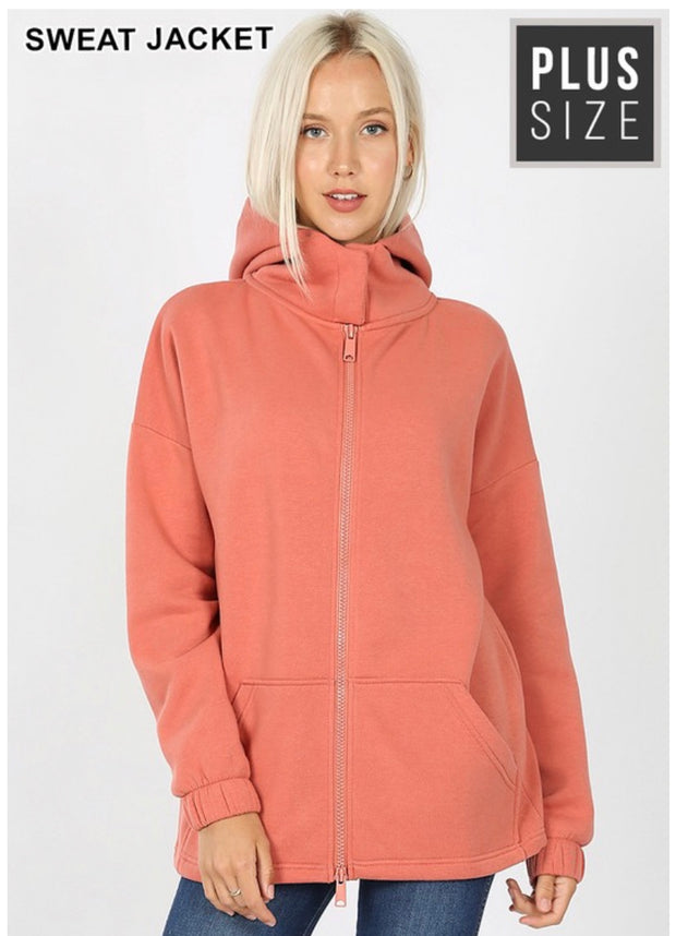 OT-A {Comfy Chic}  SALE!! Ash Rose Hoodie Jacket with Full Zipper PLUS SIZE 1X 2X 3X