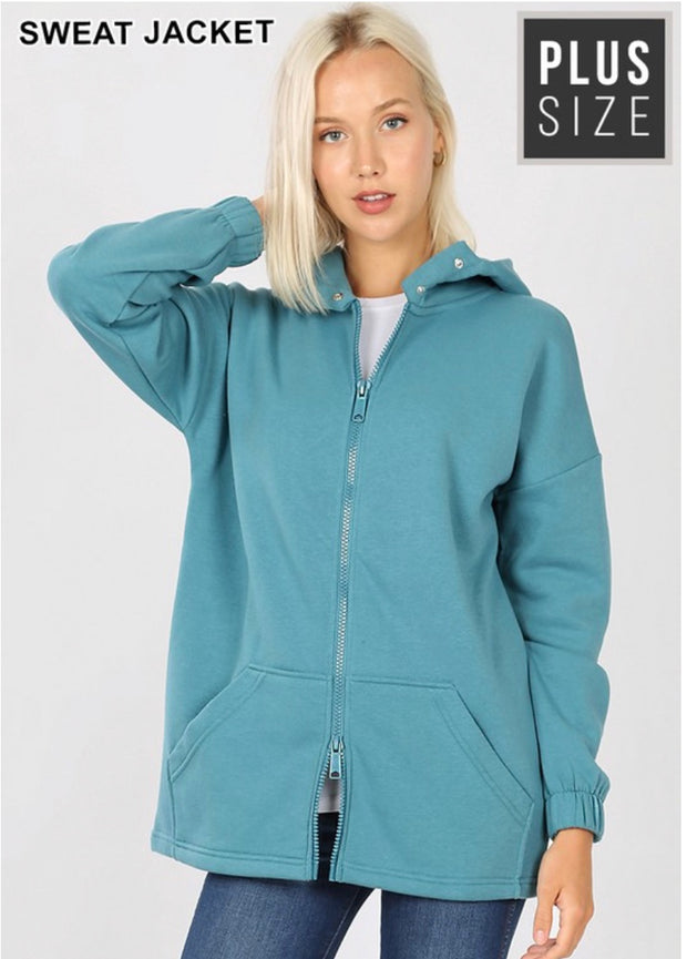 OT-P {Comfy Chic} Dusty Teal Hoodie Jacket Full Zipper  SALE!!  PLUS SIZE 1X 2X 3X