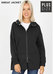 OT-S {Comfy Chic} Solid Black Hoodie Jacket Full Zipper  SALE!!  PLUS SIZE 1X 2X 3X