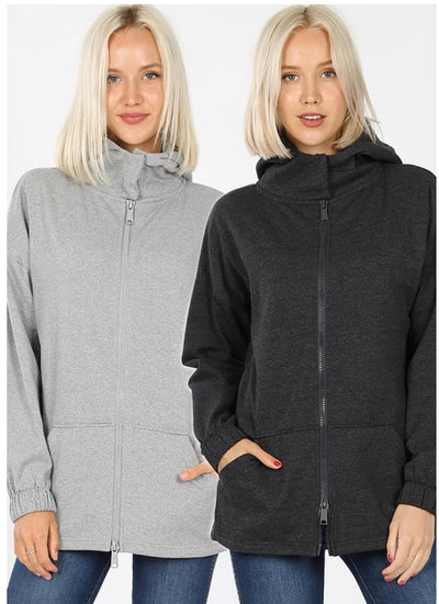 OT-C {Comfy Chic} Charcoal Hoodie Jacket with Full Zipper