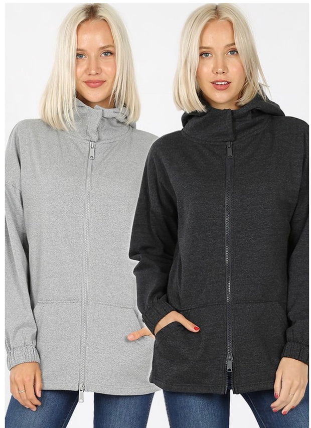 OT-C {Comfy Chic}  SALE!! Charcoal Hoodie Jacket with Full Zipper PLUS SIZE 1X 2X 3X