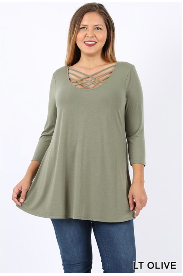 SQ-P {California Dreaming} Light Olive Cage Neck Top SALE!!