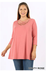 SQ-D {California Dreaming} Dusty Rose Cage Neck Top