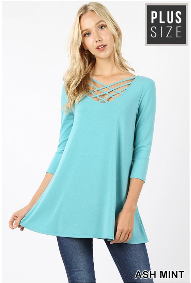 SQ-O {California Dreaming} Ash Mint Cage Neck Top