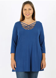 SQ-Q {California Dreaming} Blueberry Cage Neck Top