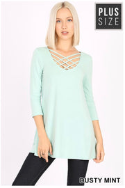 SQ-W {California Dreaming} Dusty Mint Cage Neck Top