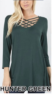 SQ-R {California Dreaming} Hunter Green Cage Neck Top