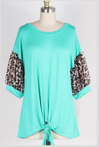 CP-N {Just Imagine} Mint Tunic with Leopard Bubble Sleeves Extended Plus