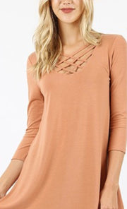 SQ-X {California Dreaming} Warm Honey Cage Neck Top