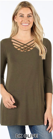 SQ-C {California Dreaming} Dark Olive Cage Neck Top