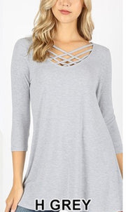 SQ-K {California Dreaming} Heather Gray Cage Neck Top SALE!!