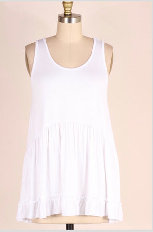 SV-O {Just Me} White Sleeveless Top with Ruffle Detail