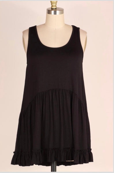 SV-M {Just Me} Black Sleeveless Top with Ruffle Detail
