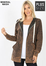 HD-N {Worth The Wait} Americano Mineral Wash Hoodie Jacket  PLUS SIZE 1X 2X 3X SALE!!