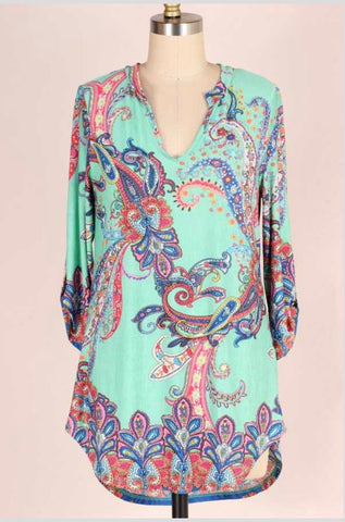 PQ-Z {Calling My Name} Mint Paisley V-Neck Top 3/4 Sleeves