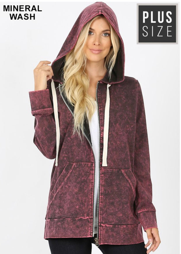 HD-O {Worth The Wait} Burgundy Mineral Wash Hoodie Jacket  SALE!!