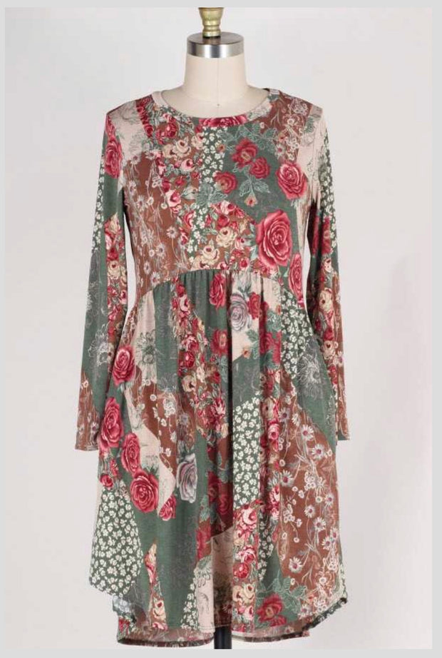 PLS-F {Melt Your Heart} Olive/Rose Floral Print Babydoll Dress