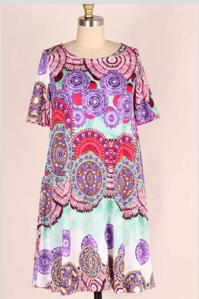 PSS-R {Sweet Emotion} Multi-Color Mandala Print Dress