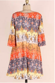 PQ-M {Playing With Fire} Multi-Print Dress Bell Slv & Pockets