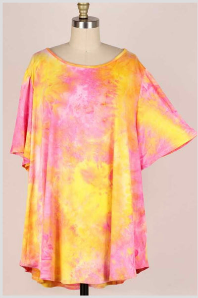 65 PSS-T {Evening Skies} Pink/Yellow Tie-Dye Top EXTENDED PLUS SIZE 3X 4X 5X