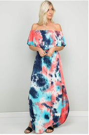 LD-H {American Dream} Tie-Dye Print Maxi Dress with Pockets