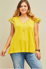 SSS-H {Simple Pleasures}  SALE!! Mustard Top Crochet Lace Detail  SALE!!