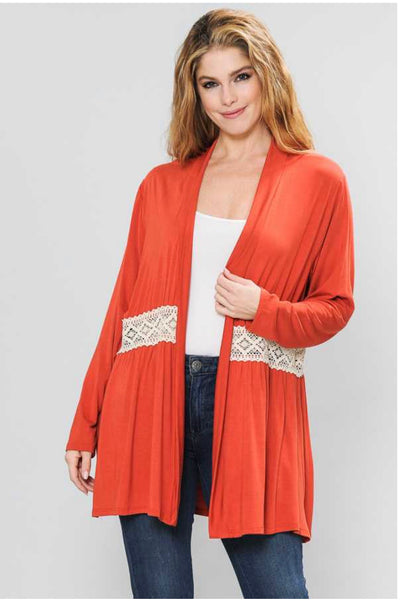 OT-M {A Darling Appeal} RUST Cardigan with Crochet Detail PLUS SIZE 1X 2X 3X