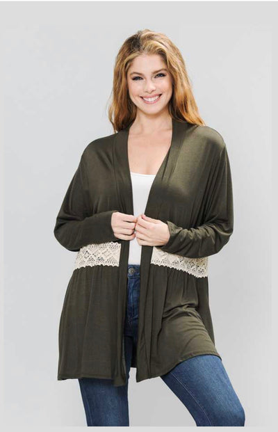 OT-N {Darling Appeal} Olive Cardigan with Crochet Detail EXTENDED PLUS SIZE 3X 4X 5X 6X
