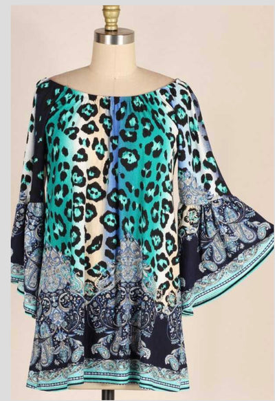 PQ-C (Leave Her Wild) Leopard and Paisley Printed Tunic PLUS SIZE 1X 2X 3X