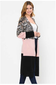 OT-M (Bold Spirit) Black/Pink Cardigan With Leopard Print PLUS SIZE 1X 2X 3X