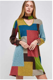 PLS-A (Playful Perfection) SALE!! Multi-Color Mocked Neck Dress PLUS SIZE 1X 2X