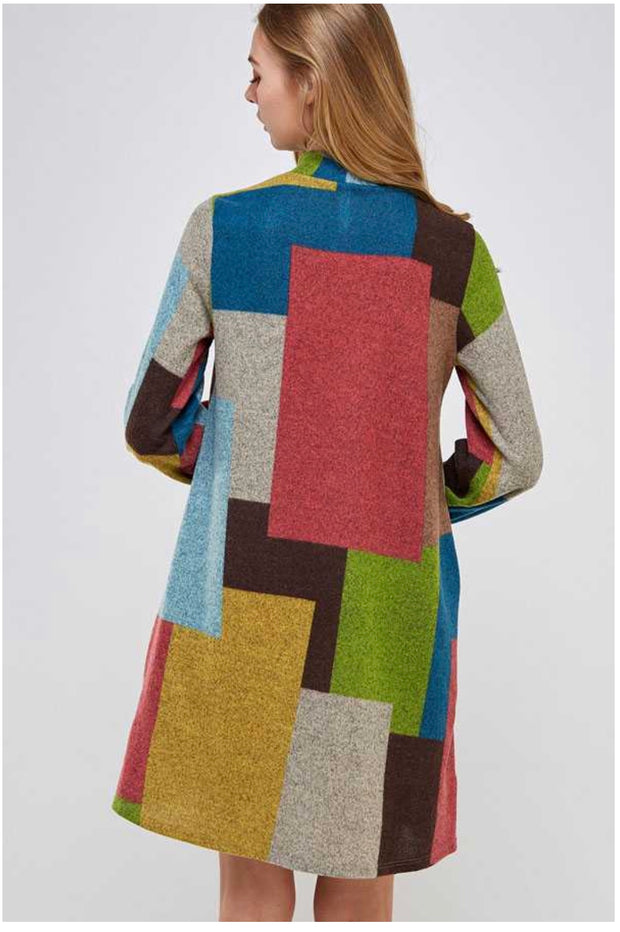 PLS-A (Playful Perfection) Multi-Color Mocked Neck Dress PLUS SIZE 1X 2X 3X