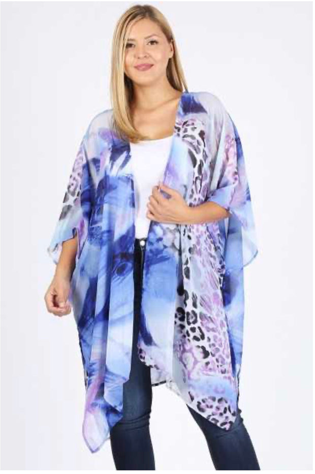 OT-C (Wild Thoughts) Sheer Animal Print Cardigan PLUS SIZE 1X  2X 3X