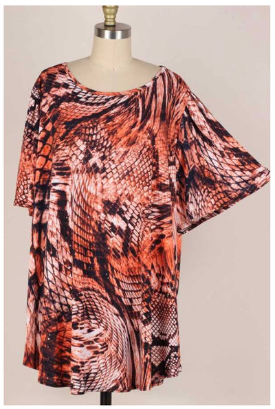 65 PSS-A {Keep Me Company} Coral Snakeskin Print Top EXTENDED PLUS SIZE 3X 4X 5X